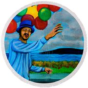 The Balloon Vendor Round Beach Towel by Cyril Maza