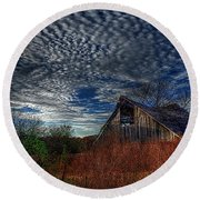 The Barn At Twilight Round Beach Towel