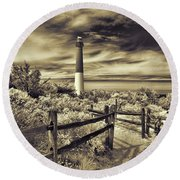 The Barnegat Lighthouse New Jersey Round Beach Towel