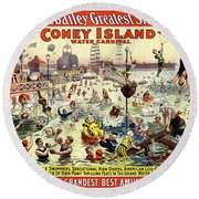 The Barnum And Bailey Greatest Show On Earth The Great Coney Island Water Carnival Round Beach Towel