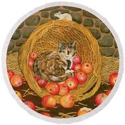 The Basket Mouse Round Beach Towel