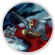 The Bat Riders Round Beach Towel