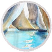 The Baths Water Cave Path Round Beach Towel