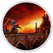 The Battle For The Crystal Castle Round Beach Towel by James Christopher Hill