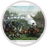 The Battle Of Winchester Round Beach Towel