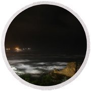 The Bay At Night Round Beach Towel