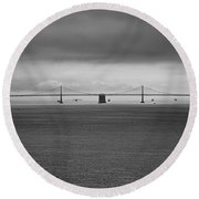 The Bay Bridge B/w Round Beach Towel