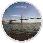 Round Beach Towel featuring the mixed media The Bay Bridge- By Linda Woods by Linda Woods