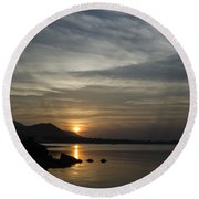 The Bay Round Beach Towel by Michelle Meenawong