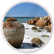 Round Beach Towel featuring the photograph The Bay Of Fires by Nicholas Blackwell