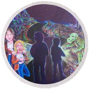 The Bay Road Swamp Monster Round Beach Towel