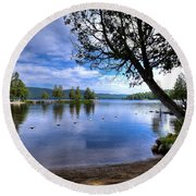 Round Beach Towel featuring the photograph The Beach At Covewood Lodge by David Patterson