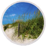 The Beach At Pine Knoll Shores Round Beach Towel