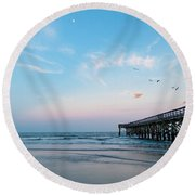 The Beach At Sunset Is A Magical Place Round Beach Towel