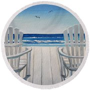 The Beach Chairs Round Beach Towel