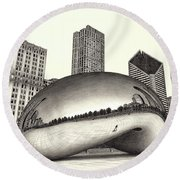 The Beach Chicago Drawing Round Beach Towel