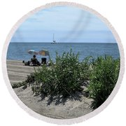 The Beach Round Beach Towel by John Scates