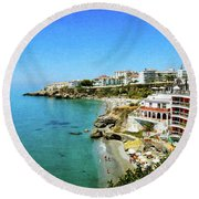 Round Beach Towel featuring the photograph The Beach - Nerja Spain by Mary Machare