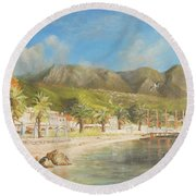 The Beach Of Ipsos Round Beach Towel