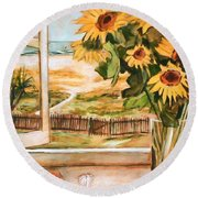 The Beach Sunflowers Round Beach Towel