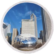 The Bean And The City Round Beach Towel