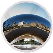 The Bean's Early Morning Reflections Round Beach Towel