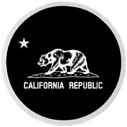The Bear Flag - Black And White Round Beach Towel
