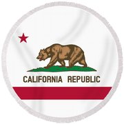 The Bear Flag - State Of California Round Beach Towel