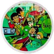 The Beatles - Pinball Art Round Beach Towel