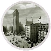 The Beautiful Flatiron Building Circa 1902 Round Beach Towel by Jon Neidert