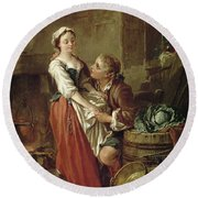 The Beautiful Kitchen Maid Round Beach Towel by Francois Boucher