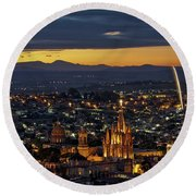 The Beautiful Spanish Colonial City Of San Miguel De Allende, Mexico Round Beach Towel