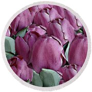 The Beauty And Depth Of A Bed Of Tulips Round Beach Towel