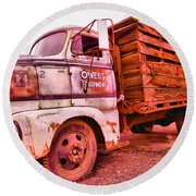 Round Beach Towel featuring the photograph The Beauty Of An Old Truck by Jeff Swan