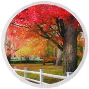The Beauty Of Autumn In New England Round Beach Towel