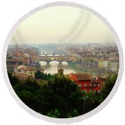 Round Beach Towel featuring the photograph The Beauty Of Florence  by Alan Lakin