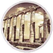 The Beauty Of The Temple Of Poseidon Round Beach Towel