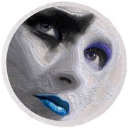 The Beauty Regime Blue Round Beach Towel by ISAW Gallery