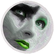 The Beauty Regime Green Round Beach Towel by ISAW Gallery