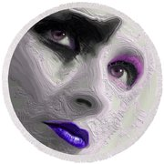 The Beauty Regime Purple Round Beach Towel by ISAW Gallery