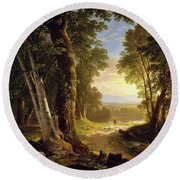 Round Beach Towel featuring the painting The Beeches By Asher Brown Durand by Asher Brown Durand