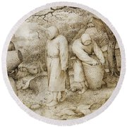 The Beekeepers And The Birdnester Round Beach Towel