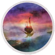 The Belated Boat Round Beach Towel