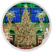 The Bellagio Christmas Tree Panorama 2017 Round Beach Towel