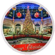 The Bellagio Conservatory Christmas Tree Card 5 By 7 Round Beach Towel