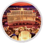 The Bellagio Fountains After Sunset Portrait Round Beach Towel by Aloha Art