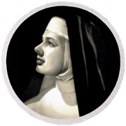 The Bell's Of St. Mary's  Round Beach Towel by Fred Larucci