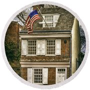The Betsy Ross House Round Beach Towel