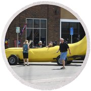 The Big Banana Car Stops By Round Beach Towel by Kent Lorentzen