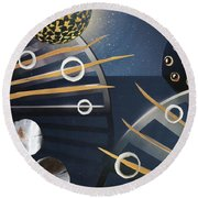 Round Beach Towel featuring the painting The Big Bang by Michal Mitak Mahgerefteh